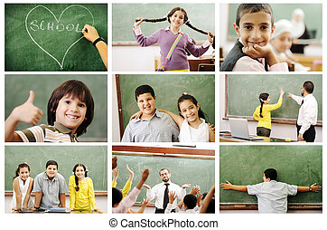 School concept, children and teacher in classroom - collage...