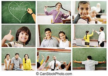 escola, conceito, crianças, professor, sala aula, -,...