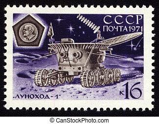 Franqueo, estampilla, soviético, luna, máquina,  lunokhod-1
