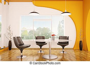 Modern interior of dining room 3d render