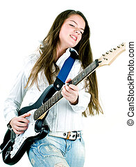like a rock star - Teen girl holding a guitar like a rock...