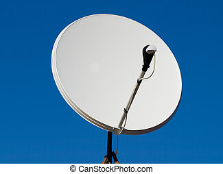satellite dish - A satellite dish and the blue sky with the...