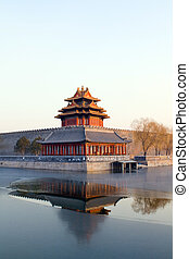corner turret in forbidden city, Beijing China