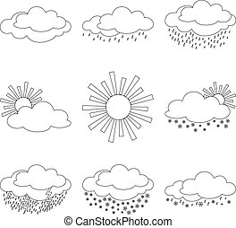 Set weather icons - Set vector weather icons, illustrating...