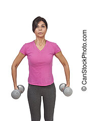 Dumbbells exercising lady