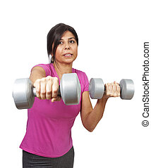 Dumbbells exercising - Fitness exercise with dumbbells