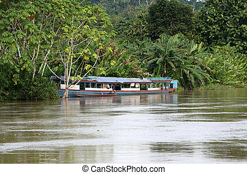Amazon River Boat - A large house boat along the shore of...