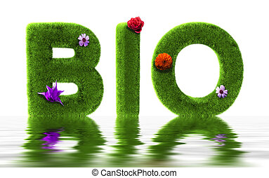 Bio grass - Bio text made with grass and flowers