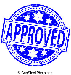 Approved Stamp - Rubber stamp illustration showing APPROVED...