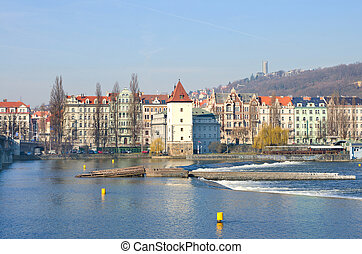 Beautiful Prague Quay - view from the river Vltava