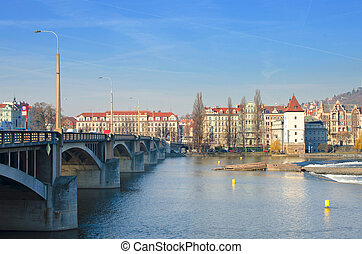 Beautiful Prague bridges and quays - view from the river...