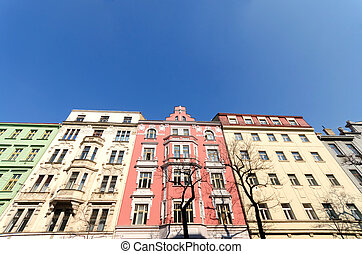Colorful buildings in Prague, Czech republic