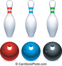 Bowling balls and pins. - Set of three bowling balls and...