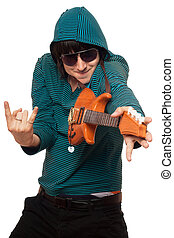 man in sunglasses with a little guitar