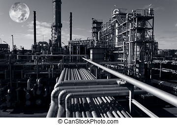 oil refinery and moon light - large oil and gas industry...