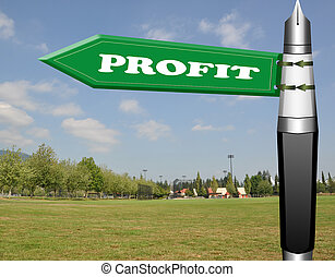 Profit fountain pen road sign