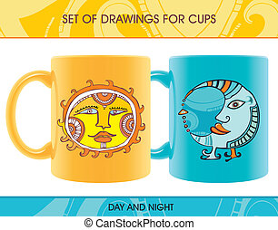 Set of cups for day and night.