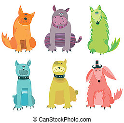 Funny vector dogs.