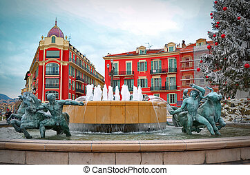 Fountain in Plaza Massena square, Nice