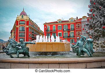 Fountain in Plaza Massena square, Nice