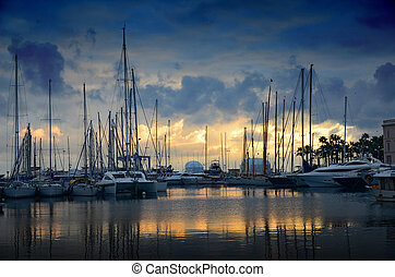 Sunset over the marina in Cannes - Photo of the sunset over...