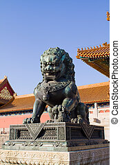 Statue of Chinese lion - guardian of the Forbidden city,...