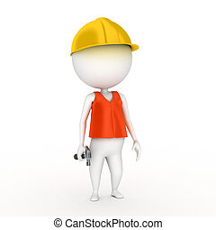 construction guy - 3d rendered illustration of a little...