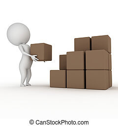 little guy with packages - 3d rendered illustration of a...