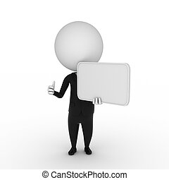 business guy with a blank sign - 3d rendered illustration of...