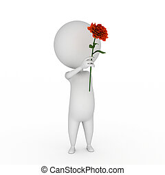 little guy with a red rose - 3d rendered illustration of a...