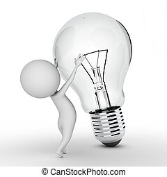 little guy with a bulb - 3d rendered illustration of a...