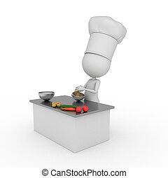 little chef - 3d rendered illustration of a little chef