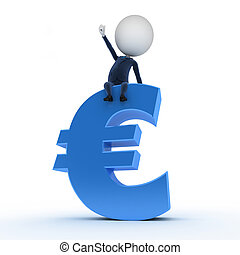 business guy sitting on an euro