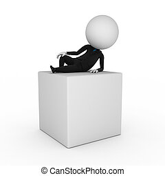 business guy lying on a blank box