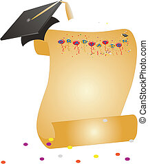 Graduation Celebrations - Hat and Diploma, with Graduation...