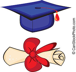 Diploma and graduation cap. Illustration on white background