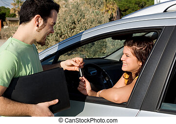 driving test or car hire or new vehicle sale