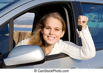 woman with new car, hire or rental