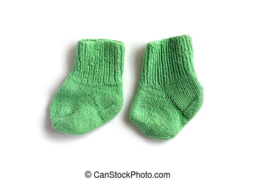 children knitted socks - object on white - children knitted...