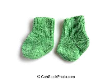 children knitted socks - object on white - children knitted...