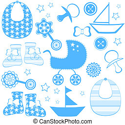 vector illustration of a boy newborn collection
