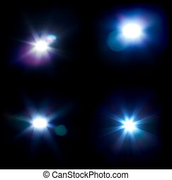 Four flares isolated on black with no overlay.