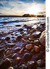 Lake shore Summer sunset light