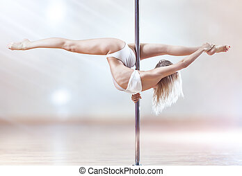 Young pole dance woman Bright white colors