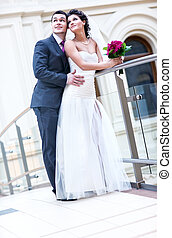Young wedding couple Bright white colors