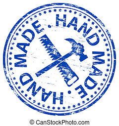 Hand Made Stamp - Rubber stamp illustration showing HAND...