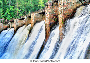 Waterfall - Hole Porogi (Rapids) - operating hydro power...