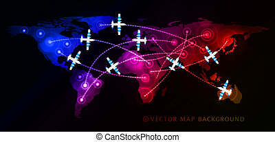Air travel flight paths dotted lines on world map as...