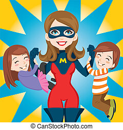 Super Hero Mom - Son and daughter hanging on Super Hero Mom...