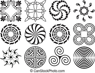 Twelve black & white design elements circular & curved